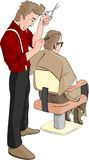Barber combing hair. Barber combing and cutting hair Royalty Free Stock Photography