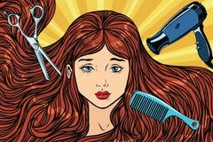 Barber Concept La fille avec le long cheveu Photographie stock libre de droits