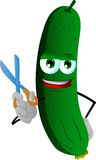Barber cucumber or pickle holding a scissor Stock Image