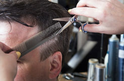 Barber cuts hair of handsome satisfied client. Stock Photos