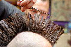 Barber cutting and modeling hair by scissors Royalty Free Stock Photos