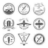 Barber Emblem Or Label Set Images libres de droits