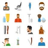 Barber Flat Icons Set Image libre de droits