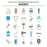 Barber Flat Line Icon Set - progettazione delle icone di concetto di affari illustrazione di stock