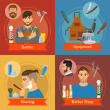 Barber Flat Style Compositions Immagini Stock