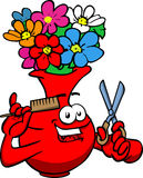 Barber flower vase holding a comb and a scissor Royalty Free Stock Photography