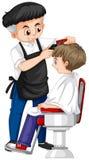 Barber giving boy haircut. Illustration Stock Photography