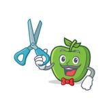Barber green apple character cartoon Stock Image