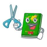 Barber green passport in a character bag. Vector illustration stock illustration
