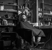 Barber with hair clipper in hand finished trimming. Hipster client getting haircut. Barber with hair clipper works on. Hairstyle for bearded men barbershop royalty free stock image