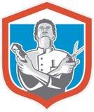 Barber Hair Clipper Scissors Shield retro Immagine Stock
