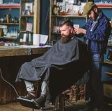Barber with hair clipper works on haircut of bearded guy barbershop background. Hipster client getting haircut. Barber. With clipper trimming hair on nape of stock photo