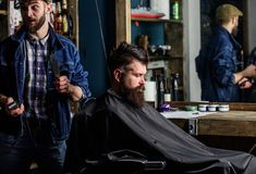 Barber with hair clipper works on hairstyle for bearded man barbershop background. Barber with clipper and brutal. Barber with hair clipper works on hairstyle stock photography