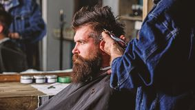 Barber with hair clipper works on hairstyle for bearded man barbershop background. Hipster lifestyle concept. Barber royalty free stock photo