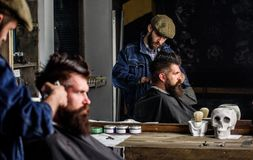 Barber with hair clipper works on hairstyle for bearded man barbershop background. Hipster lifestyle concept. Hipster. Barber with hair clipper works on royalty free stock image