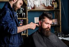 Barber with hair clipper works on hairstyle for bearded man barbershop background. Barber with clipper trimming hair on. Temple of client. Hipster client stock images