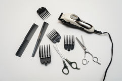 Barber Hair Cutting Set. With Trimmer, Scissors, combs and Attachments royalty free stock image