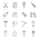 Barber and Hair Salon icons. Icon set Stock Image