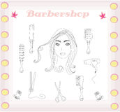 Barber and hairdresser doodle set Stock Photography