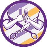 Barber Hand Comb Brush Scissors Circle Retro Stock Photos