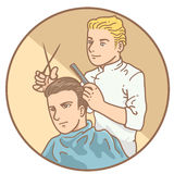 Barber hand drawn Royalty Free Stock Photo