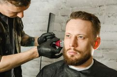 Barber hand in gloves cut hair and shaves adult gihger bearded man on a brick wall background. Close up portrait of a guy. Barber hand in gloves cut hair and stock photos