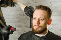 Barber hand in gloves cut hair and shaves adult gihger bearded man on a brick wall background. Close up portrait of a guy. Barber hand in gloves cut hair and royalty free stock photos