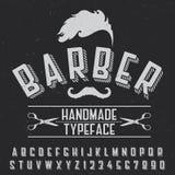 Barber Handmade Typeface Poster Fotografie Stock Libere da Diritti