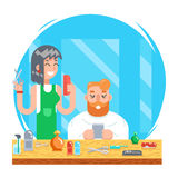 Barber hipster geek online mobile character male and female master haircuts icon on stylish background Flat Design Stock Photography