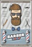 Barber Hipster Vintage Poster Photo stock