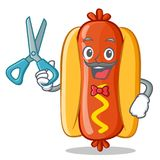 Barber Hot Dog Cartoon Character Images stock