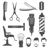 Barber Icon Set. With hairdresser work tools and mens hairstyles isolated and black on white background vector illustration vector illustration