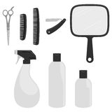 Barber Icons. A set of eight basic icons you'd find typically in a male hair dressers Royalty Free Stock Images