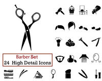 24 Barber Icons Images libres de droits