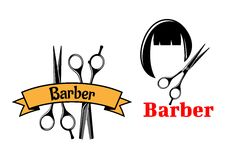 Barber icons and emblems Stock Photo