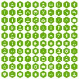 100 barber icons hexagon green. 100 barber icons set in green hexagon isolated vector illustration Royalty Free Stock Photo