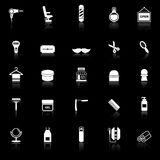 Barber icons with reflect on black background Royalty Free Stock Photo