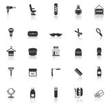 Barber icons with reflect on white background Stock Images
