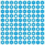 100 barber icons set blue. 100 barber icons set in blue hexagon isolated vector illustration Vector Illustration