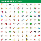 100 barber icons set, cartoon style. 100 barber icons set in cartoon style for any design vector illustration stock illustration