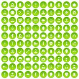 100 barber icons set green circle. Isolated on white background vector illustration Stock Image