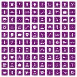 100 barber icons set grunge purple. 100 barber icons set in grunge style purple color isolated on white background vector illustration Stock Illustration