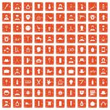 100 barber icons set grunge orange. 100 barber icons set in grunge style orange color isolated on white background vector illustration Stock Photo