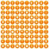 100 barber icons set orange. 100 barber icons set in orange circle isolated on white vector illustration royalty free illustration
