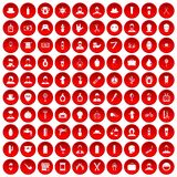 100 barber icons set red. 100 barber icons set in red circle isolated on white vector illustration Stock Photography