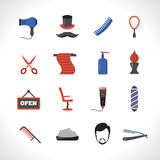Barber Icons Set Stock Images