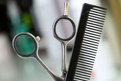 Barber instrument set in front of camera Royalty Free Stock Images