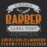 Barber Label Font Poster Stock Image