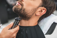 Barber leveling human stubble by shearer. Close up of professional hairdresser arms dubbing male beard near neck by clipper Royalty Free Stock Images