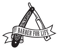 Barber For Life Design. Vector illustration of vintage straight razor with banner that reads Barber For Life stock illustration